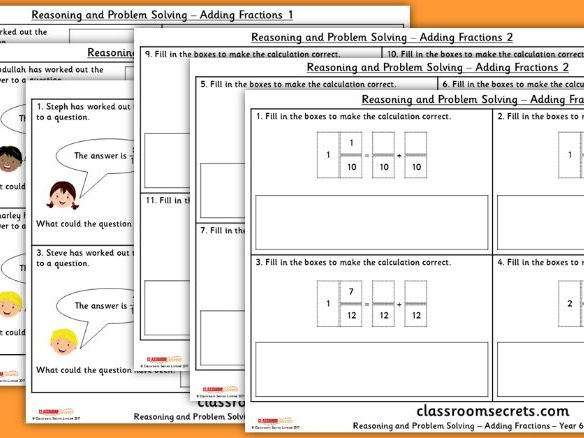 Year 6 Fractions Measurement Reasoning and Problem Solving Pack
