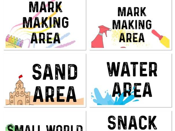 Classroom Area Labels EYFS