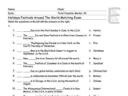 Holidays-Festivals Around The World Matching Exam