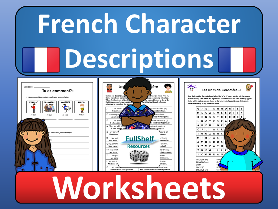 French Describing Character Worksheets