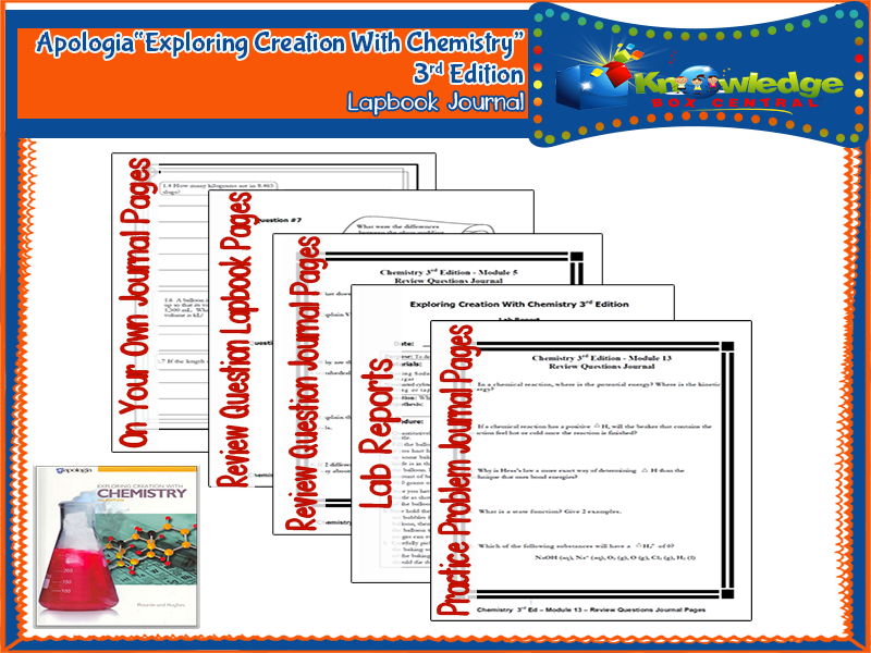Apologia Exploring Creation With Chemistry 3rd Edition Lapbook Journal