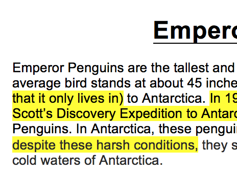 Emperor Penguins WAGOLL Year 5 Non-Chronological Information Text