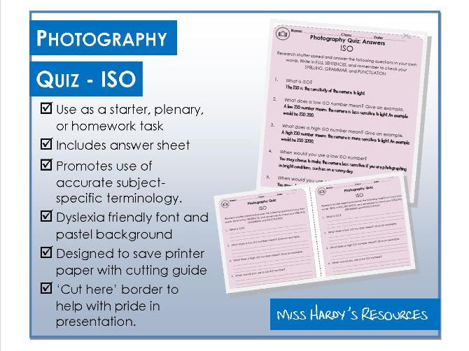 Photography - Quiz - ISO - Starter/Plenary/Homework
