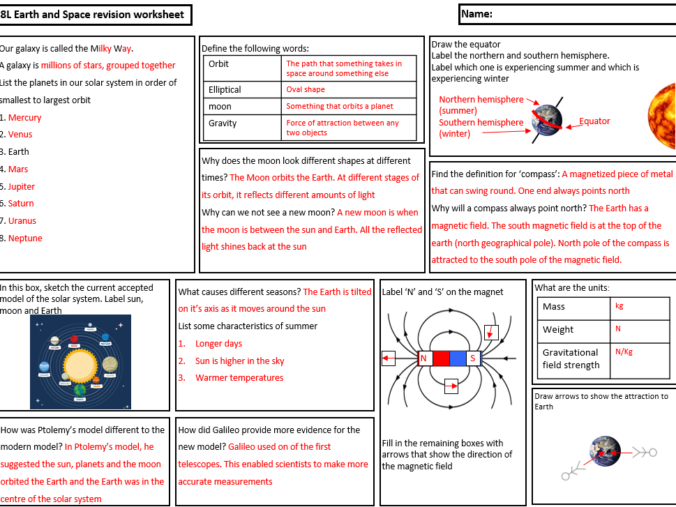 Exploring Science 8L Revision Summary - Earth and Space