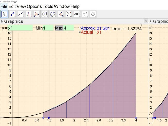 Interactive Trapezium Rule (area under a curve)