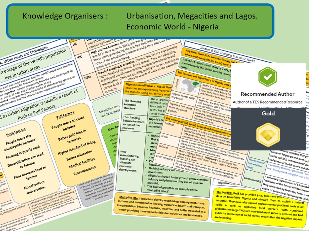 GCSE AQA 9-1 : Nigeria and Lagos Knowledge Organiser Bundle.