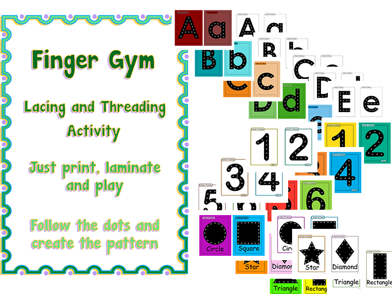 EYFS Lacing and Threading LETTERS, NUMBERS and SHAPES
