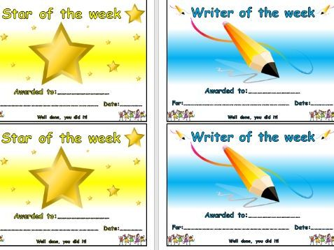 4 Different Well Done Award Certificates for Star of the Week, Reader, Writer and Mathematician