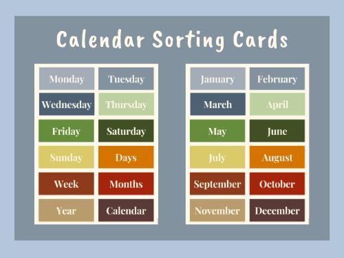 Calendar Sorting Cards