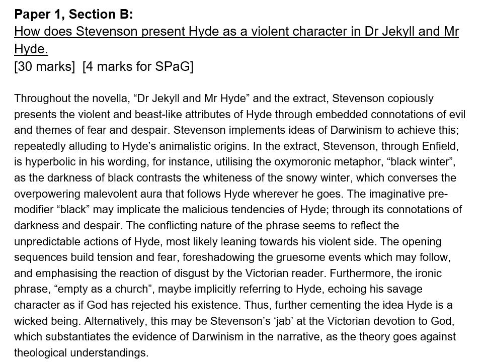 AQA Grade 9 Exemplar - Jekyll & Hyde