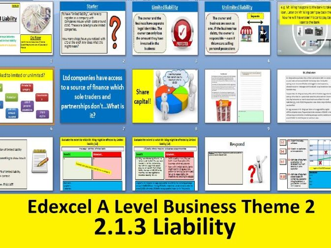 2.1.3 Liability - Theme 2 Edexcel A Level Business