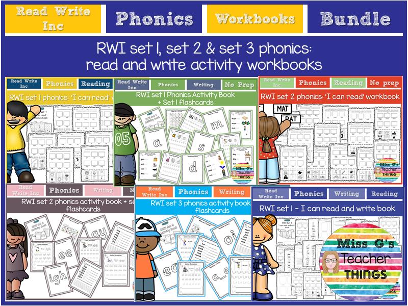 RWI set 1 set 2 set 3 Phonics read and write Activity Workbooks