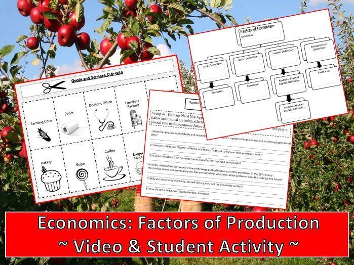 U.S. Economics: Factors of Production Student Activity