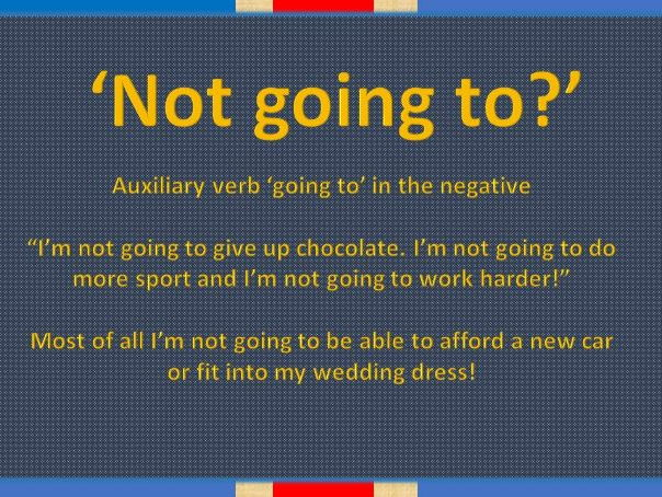 'Going to' to express the future in negative statements A2 level English