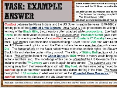 Lesson 23 GCSE History Edexcel 1-9 American West - Conflict Little Bighorn and Wounded Knee Massacre