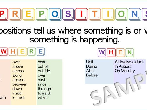 Prepositions Word Mat-  Colourful!