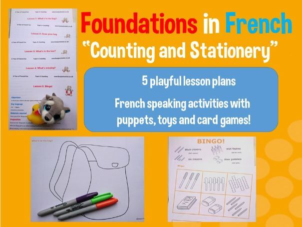 French numbers - stationery vocabulary - 5 lesson plan mega bundle