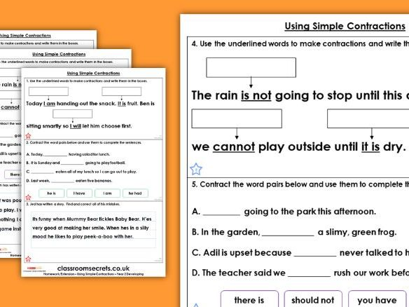Grammar Year 2 Using Simple Contractions Spring Block 2 Homework Extension