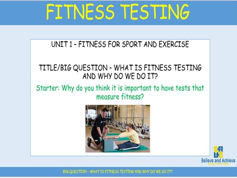 Fitness testing: BTEC Sport level 2 Unit 1 (2018)