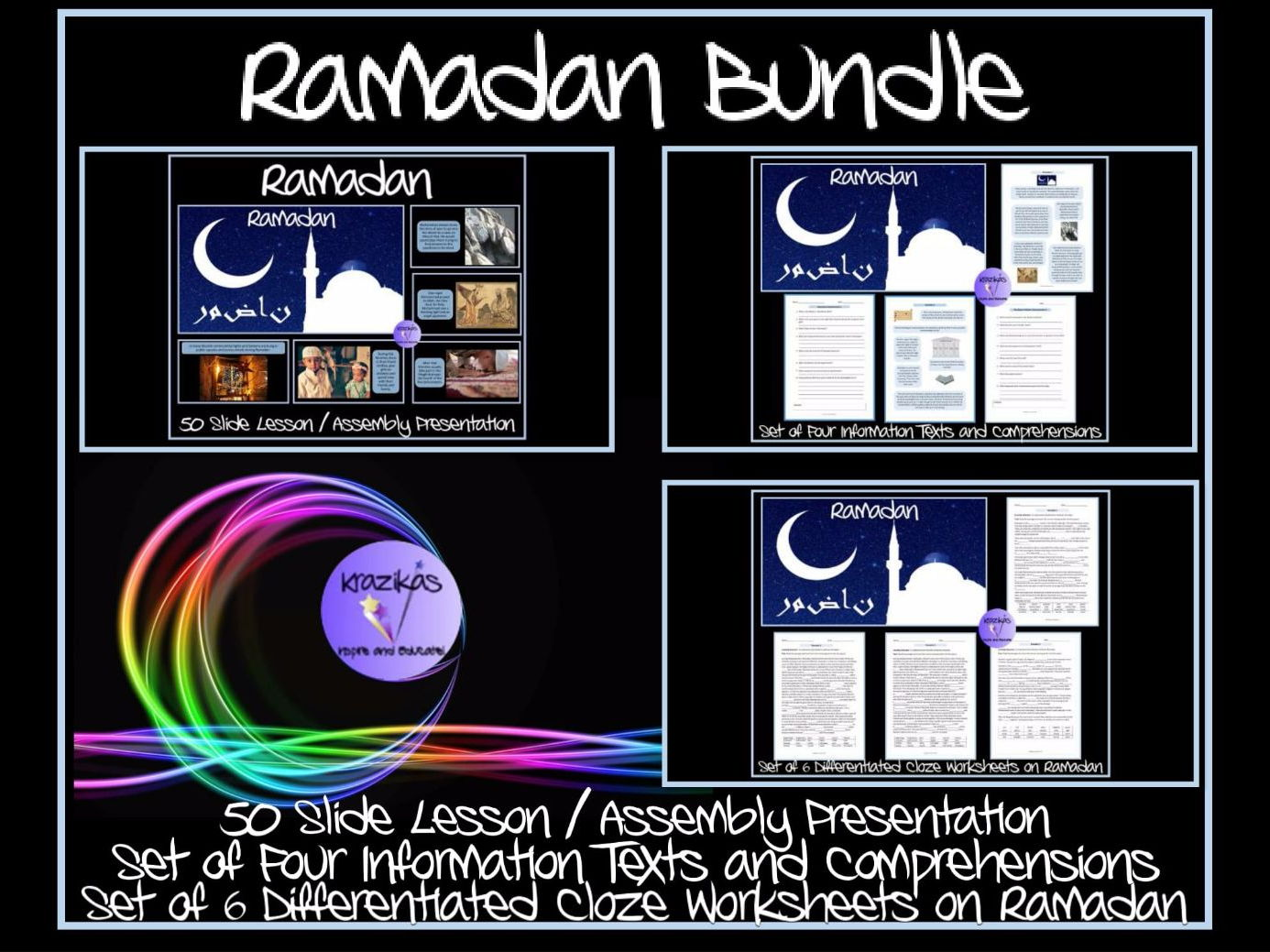 Ramadan and  Eid-Ul-Fitr Bundle - PowerPoint Assembly / Lesson Presentation and Set of Ten Worksheets