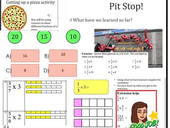 Multiplying proper fractions with integers FULL LESSON with PICTURES, engaging for KS2 / KS3