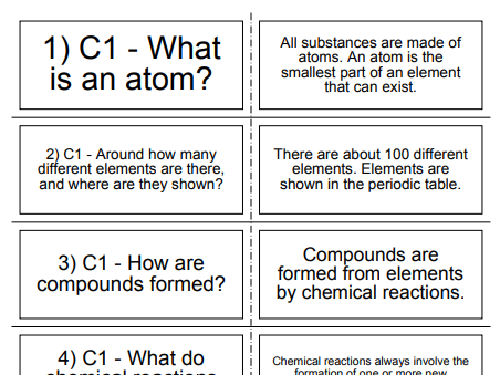200 AQA, GCSE 9-1 CHEMISTRY PAPER 1 REVISION CARDS.