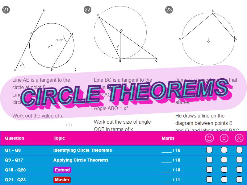 Circle Theorems Worksheet + Answers (Higher GCSE)