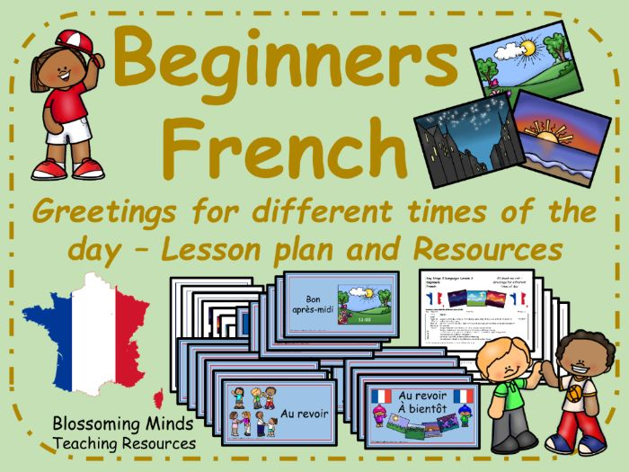 French lesson and resources - Greetings for different times of day