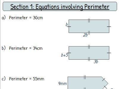 Forming and Solving Equations Worksheet - Mixed Geometry