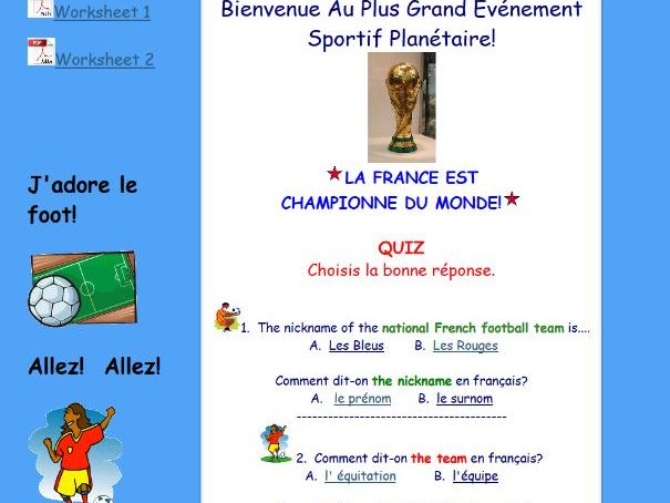 French Football Worksheets + web page