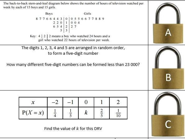 Statistics 1 Revision - Lock Puzzle with Answers
