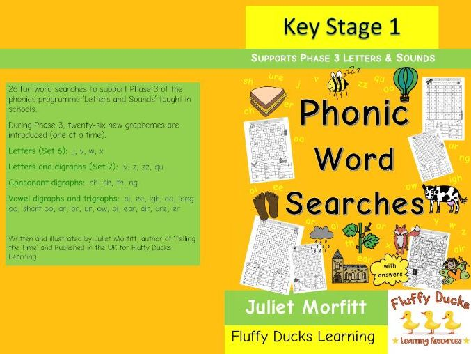 26 phonics Word Searches Phase 3 Letters Digraphs and trigraphs