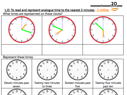 Tell the Time from an Analogue Clock (Nearest minute)