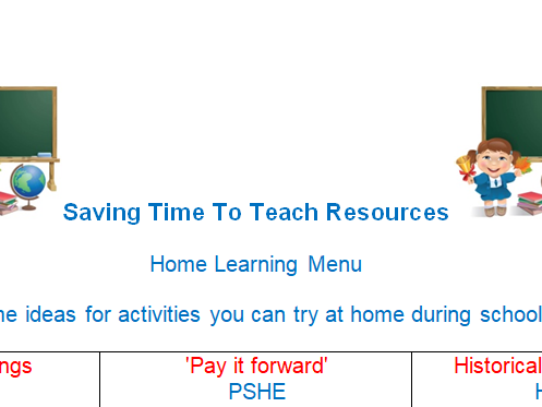 Home learning menu - for school closure
