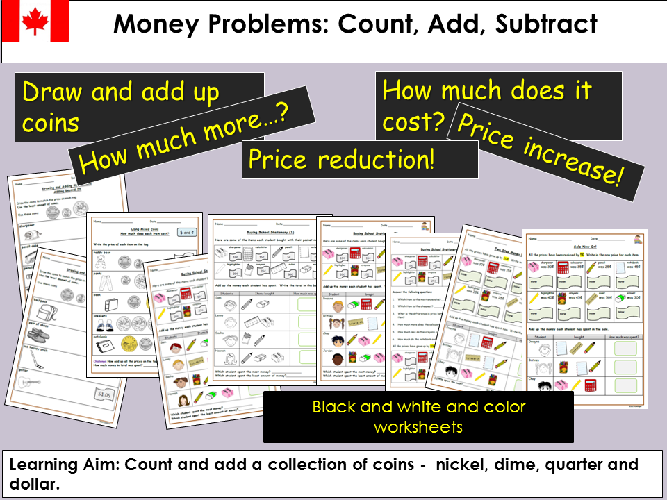 Canadian Money Problem Questions, Count, Add/Subtract, Draw coins to match price tags, Worksheets