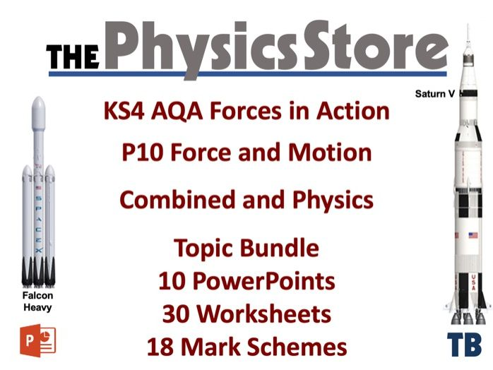 KS4 GCSE Physics AQA  P10 Forces in Action - 10PPTS 30WS and 18MS Topic Bundle (Combined & Physics)
