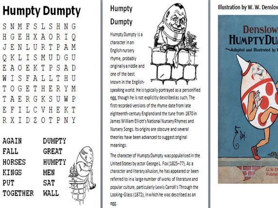 Nursery Rhymes Word Search Pack