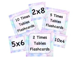 Times Table Flashcards! 2,5 and 10 times tables