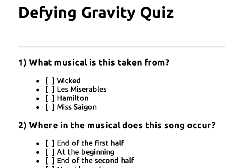 Edexcel GCSE Music: Defying Gravity focus work - multiple choice quiz