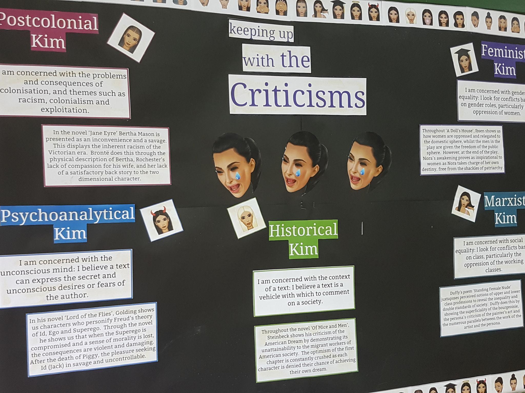 Literary Criticism display with Kim Kardashian