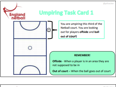 Netball Umpiring Task Cards or Lanyards