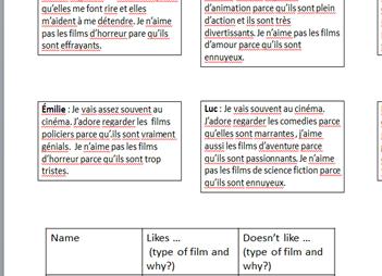 Reading comprehension on films.