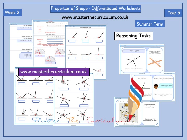 Year 5 – Summer – Week 2 – Editable Properties of Shape- Differentiated Sheets