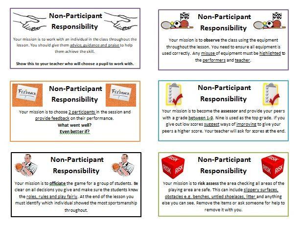 Non-Participant cards for PE
