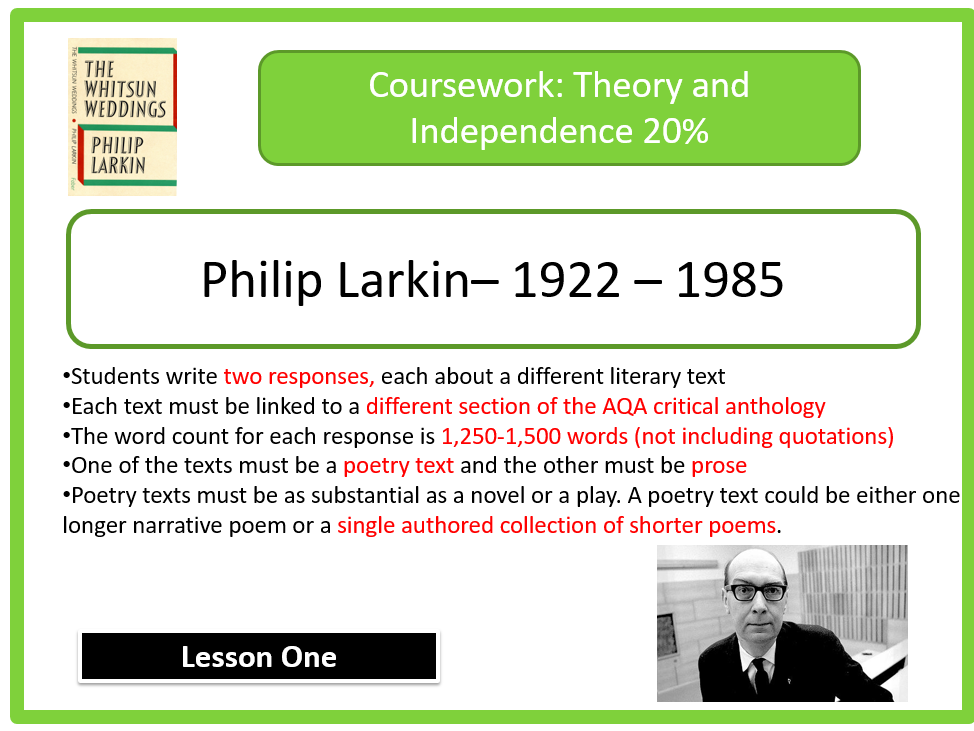 AQA Lit B Coursework: Larkin( whitsun weddings)- Marxist Perspective