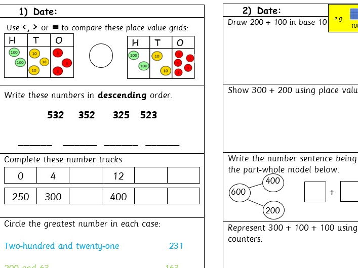 Year 3 Five minute warm up tasks - addition and subtraction - 5 tasks