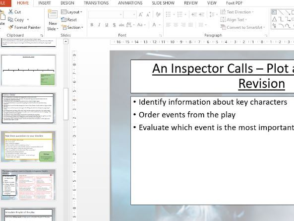 An Inspector Calls Revision Lessons