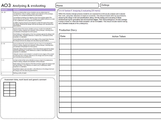 New AQA D&T 1-9 AO2-E  REALISING DESIGN IDEAS & AO3 - ANALYSING AND EVALUATING (4 pages)