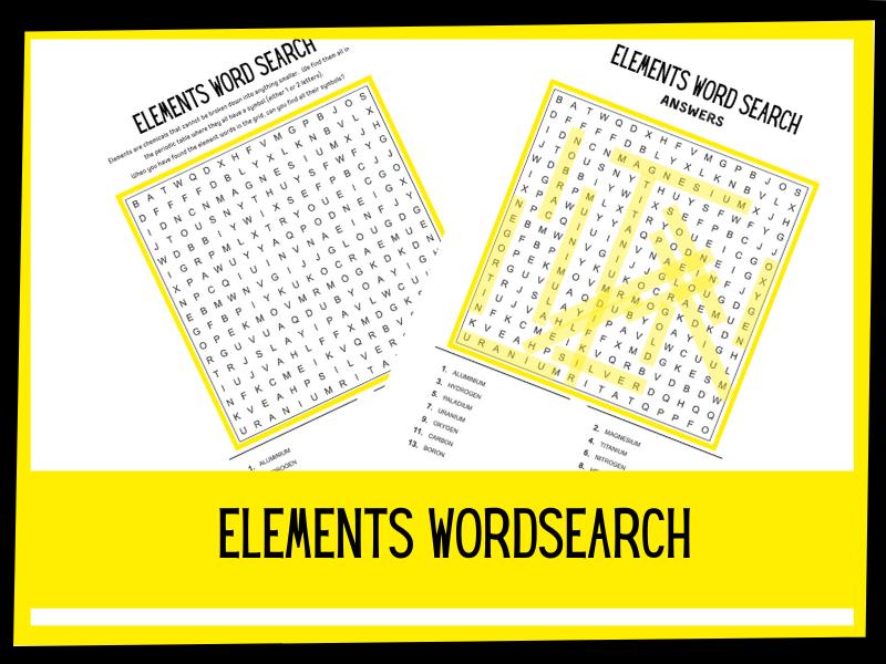 Elements wordsearch   KS1 KS1 Science