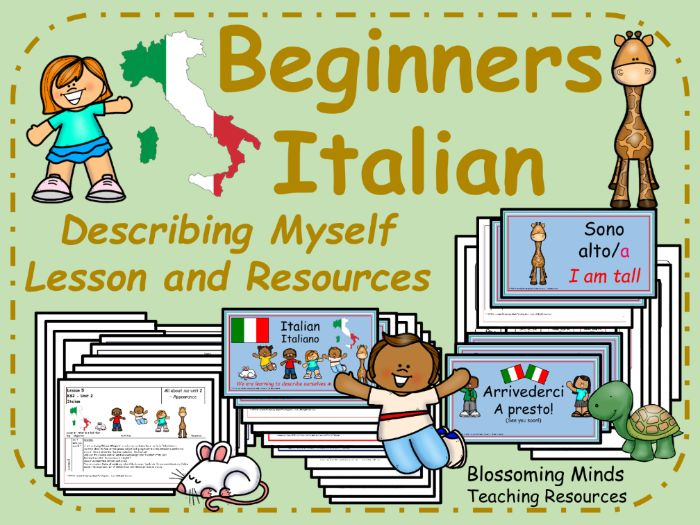 Italian lesson and resources : Describing myself